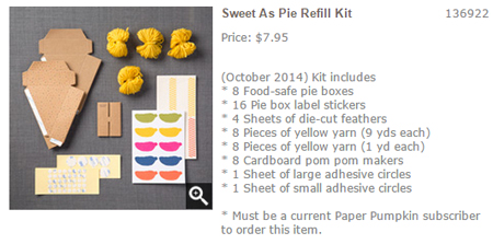Sweet As Pie Refill 136922, Oct 2014 Paper Pumpkin