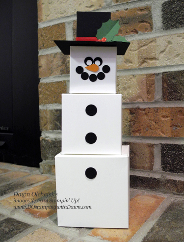 Snowman Gift Box Board Punch create by Dawn Olchefske, dostamping  #christmashome #snowman #stampinup