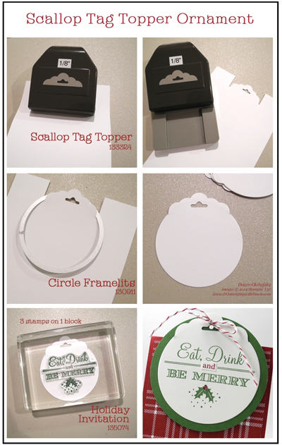Scallop Tag Topper Ornament Invitation with Trim the Tree DSP created by Dawn Olchefske (dostamping)  #DSC109 #holidayinvitation #stampinup