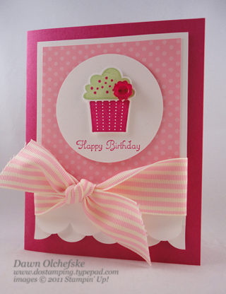 Tasteful Trim Die card created by Dawn Olchefske, features Cupcake Builder Punch, #dostamping #birthday #stampinup