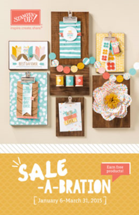 2015 Sale-a-Bration brochure filled with free gifts with $50 order shared by Dawn Olchefske #dostamping #stampnup