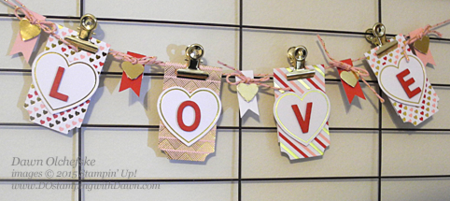 Valentine's Day LOVE Banner with Jan 2015 Filled with Love Paper Pumpkin ideas from Dawn Olchefske #dostamping #stampinup