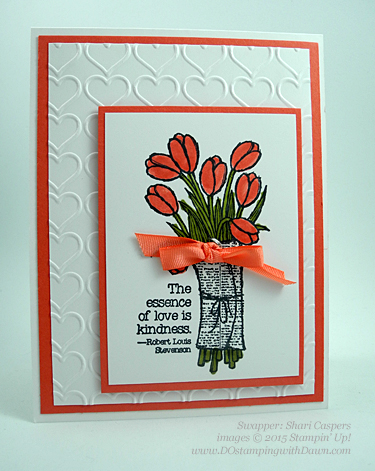 Love is Kindness Stampin' Up! 2015 Occasions Catalogs swap cards shared by Dawn Olchefske #dostamping #love (Shari Caspers)