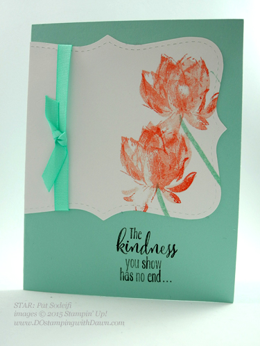 Sale-A-Bration Lotus Blossom swap card shared by Dawn Olchefske #dostamping #stampinup (Pat Sodeifi)