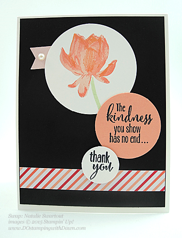 Sale-A-Bration Lotus Blossom swap card shared by Dawn Olchefske #dostamping #stampinup (Natalie Swartout)