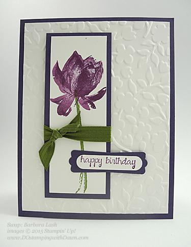 Sale-A-Bration Lotus Blossom swap card shared by Dawn Olchefske #dostamping #stampinup (Barbara Lash)