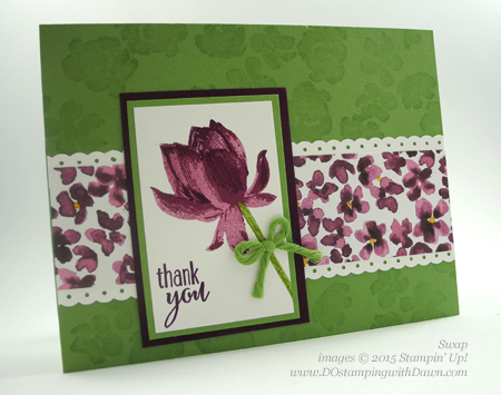 Sale-A-Bration Lotus Blossom swap card shared by Dawn Olchefske #dostamping #stampinup