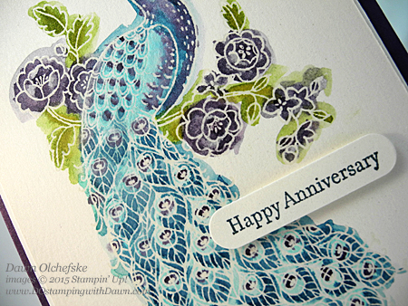 Perfect Peacock Anniversary card by Dawn Olchefske  #dostamping #stampinup