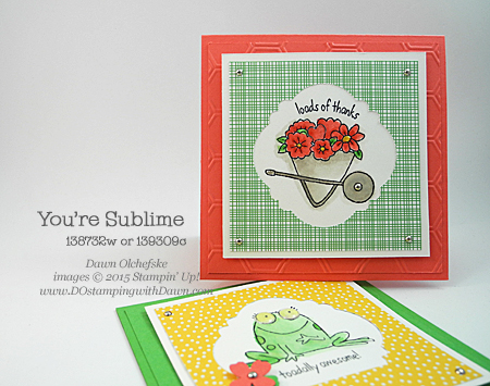 You're Sublime cards with Note Tag Punch Trick video shared by Dawn Olchefske #dostamping #stampinup