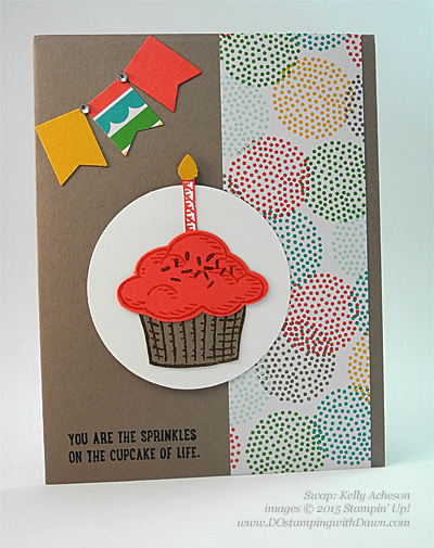 Sprinkles of Life swaps cards shared by Dawn Olchefske #dostamping #stampinup, Kelly Acheson