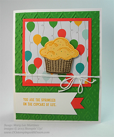 Sprinkles of Life swaps cards shared by Dawn Olchefske #dostamping #stampinup, Mary Lee Martines