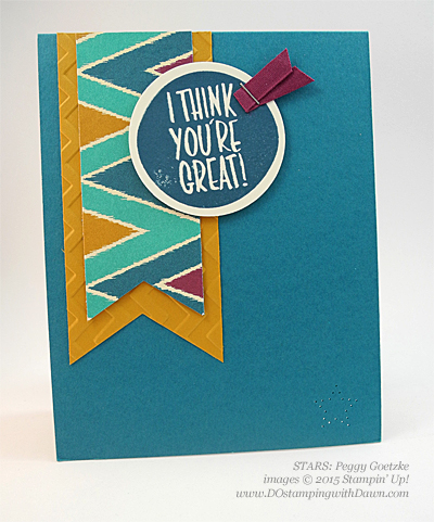 STARS I Think You're Great swap card shared by Dawn Olchefske #dostamping #stampinup Peggy Goetzke