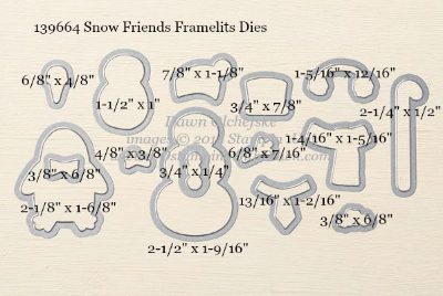 Snow Friends Framelits Dies sizes shared by Dawn Olchefske #dostamping #stampinup