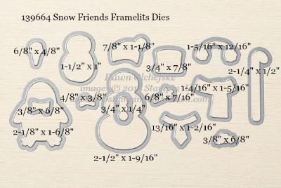 Snow Friends Framelits Dies sizes shared by Dawn Olchefske #dostamping #stampinup