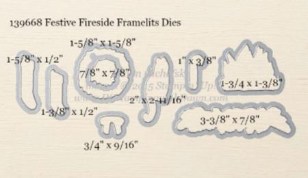 Festive Fireside Framelits Dies sizes shared by Dawn Olchefske #dostamping #stampinup
