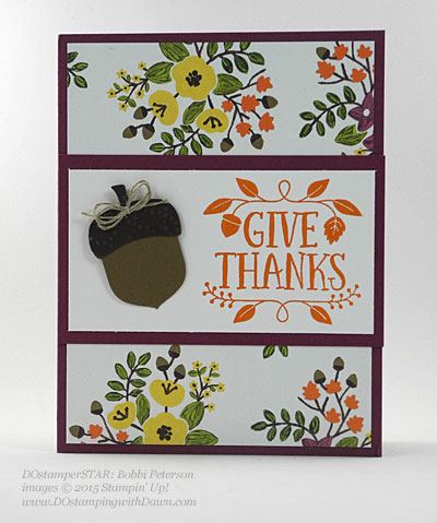Acorny Thank You, Into the Woods, Thankful Forest Friends cards shared by Dawn Olchefske #dostamping #stampinup (Bobbi Peterson)