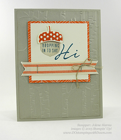 Acorny Thank You, Into the Woods swap shared by Dawn Olchefske #dostamping #stampinup (Jolene Harms)