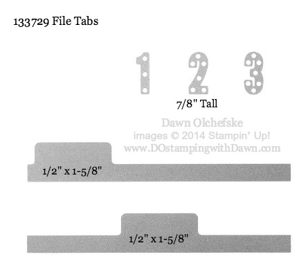 File Tabs Framelit sizes shared by Dawn Olchefske #dostamping #stampinup