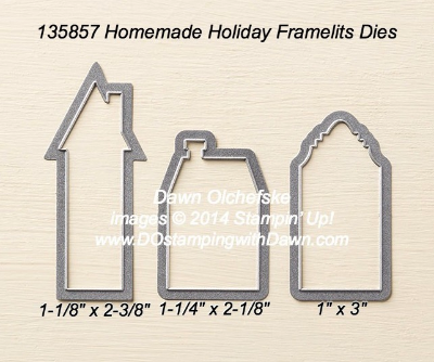 Homemade Holiday Framelit sizes shared by Dawn Olchefske #dostamping #stampinup