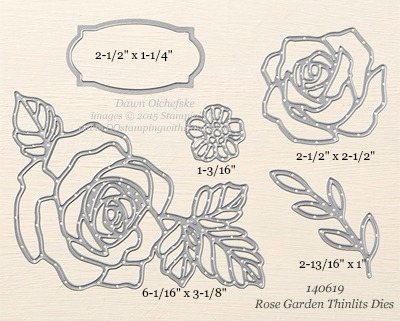 Rose Garden Thinlits Dies sizes shared by Dawn Olchefske #dostamping #stampinup