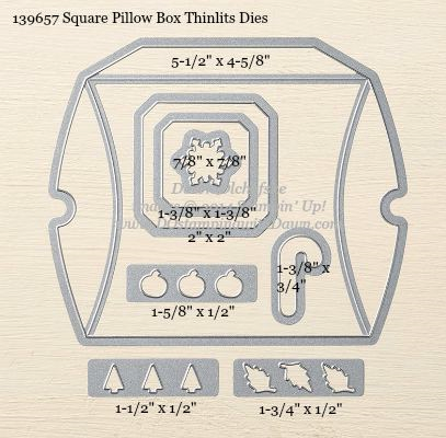 Square Pillow Box Thinlits Dies sizes shared by Dawn Olchefske #dostamping #stampinup