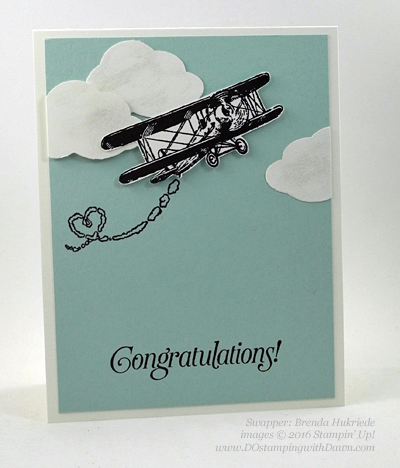 Sky is the Limit Sale-a-Bration card swap shared by Dawn Olchefske #dostamping #stampinup (Brenda Hukriede)