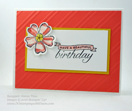 Birthday Blossom & Pansy Punch card swaps shared by Dawn Olchefske #dostamping #stampinup (Karen Titus)