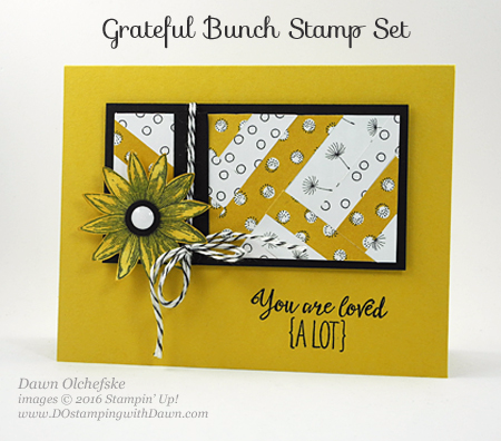 Grateful Bunch meets Sale-a-Bration Wildflower Fields DSP using Herringbone Paper Technique card created by Dawn Olchefske #dostamping #stampinup