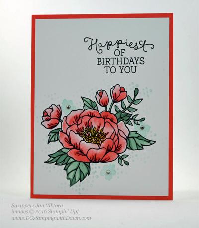 Birthday Blooms swap cards shared by Dawn Olchefske #dostamping #stampinup (Jan Viktora)
