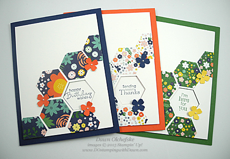 Petite Pairs Hexagon Punch card (with HSDT video) created by Dawn Olchefske, #dostamping #stampinup