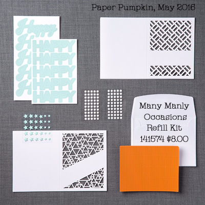 May 2016 Paper Pumpkin Kit, Many Manly Occasions Refill Kit (141574)