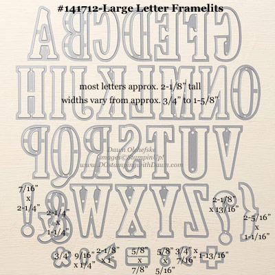 Large Letter Framelits Dies sizes shared by Dawn Olchefske #dostamping #stampinup
