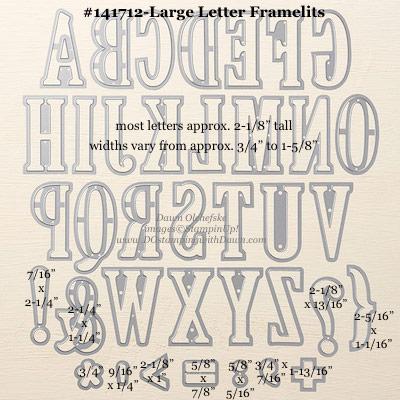 Large Letter Framelits Dies sizes shared by Dawn Olchefske #dostamping #stampinup