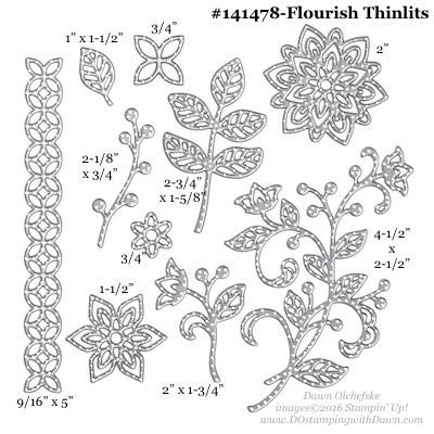 Flourish Thinlits Dies sizes shared by Dawn Olchefske #dostamping #stampinup