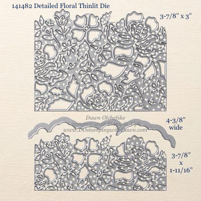 Detailed Floral Thinlit Die measurements shared by Dawn Olchefske #dostamping #stampinup