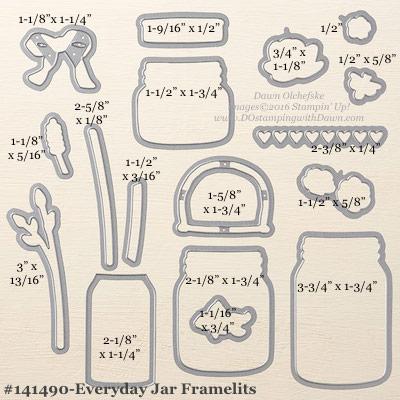 Everyday Jar Framelits measurements provided by Dawn Olchefske #dostamping #stampinup