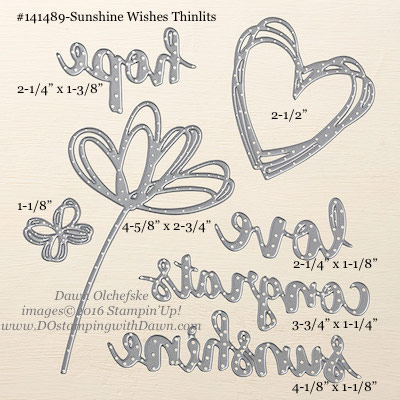 Sunshine Wishes Thinlits measurements provided by Dawn Olchefske #dostamping #stampinup