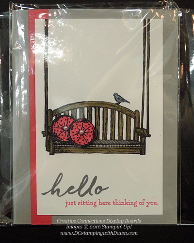 Sitting Here Creative Connections display cards shared by Dawn Olchefske #dostamping #stampinup
