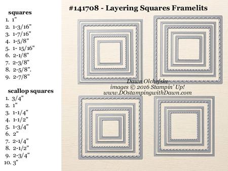 Layering Square Framelits Dies sizes shared by Dawn Olchefske #dostamping #stampinup
