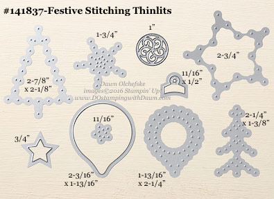 Festive Stitching Thinlits sizes shared by Dawn Olchefske #dostamping #stampinup