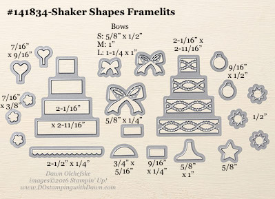 Shaker Shapes Framelits sizes shared by Dawn Olchefske #dostamping #stampinup
