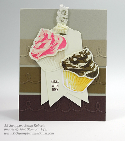 Stampin' Up! Special Offer Sept 8/14 Cupcake Cutouts Framelits swap card shared by Dawn Olchefske #dostamping (Becky Roberts)