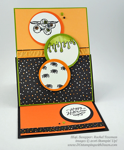 7 spooky Stampin' Up! 2016 Holiday Catalog Halloween swap cards shared by Dawn Olchefske #dostamping (Rachel Tessman)