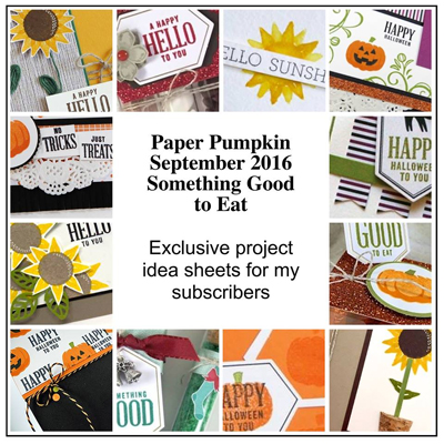 Exclusive Bonus Projects for Stampin' Up! Paper Pumpkin Sept 2016 Kit Something Good to Eat, Subscriber Bonus offered by Dawn Olchefske #dostamping