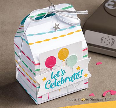 Stampin' Up! Festive Birthday Designer Series Paper Baker's Box shared by Dawn Olchefske #dostamping