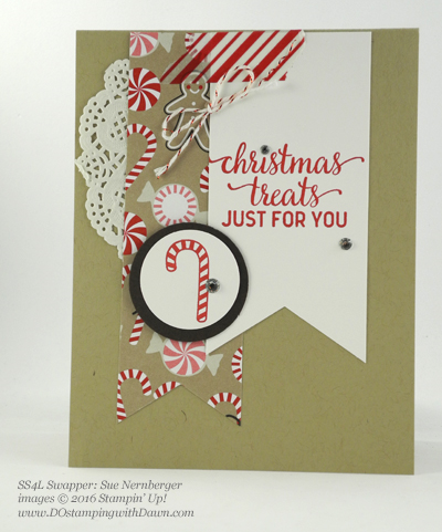 Stampin' Up! Candy Cane Lane swap cards shared by Dawn Olchefske #dostamping #stampinup (Sue Nernberger)