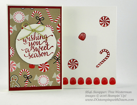 Stampin' Up! Candy Cane Lane swap cards shared by Dawn Olchefske #dostamping #stampinup (Tree Westerman)