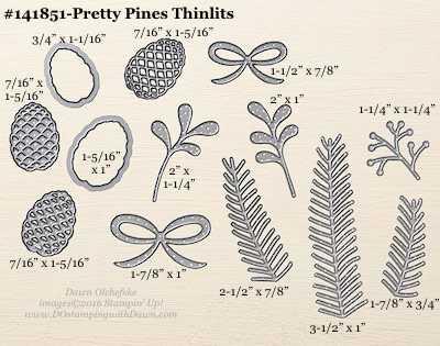 141851-Pretty Pines Thinlits measurements shared by Dawn Olchefske #dostamping #stampinup