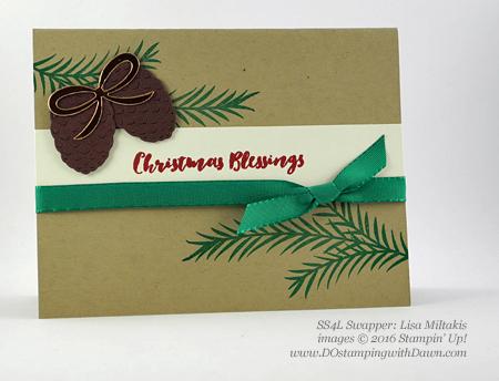 Stampin' Up! Christmas Pines Bundle swap cards shared by Dawn Olchefske #dostamping #stampinup (Lisa Miltakis)