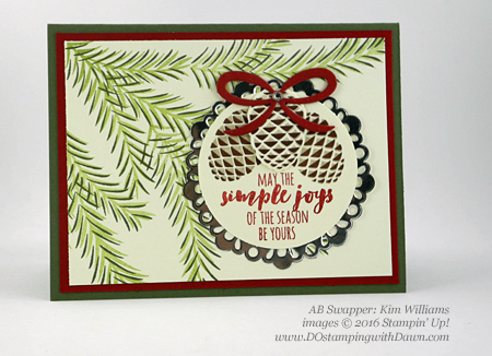 Stampin' Up! Christmas Pines Bundle swap cards shared by Dawn Olchefske #dostamping #stampinup (Kim Williams)